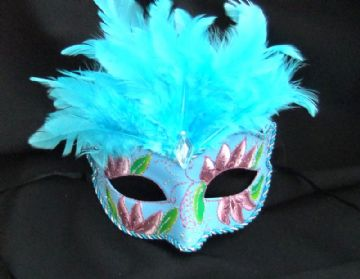 Vibrant turquoise feather Petite Mask
